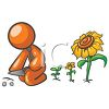 Orange Man Character Planting Flowers clipart