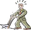 Businessman Plowing in a Suit Metaphor clipart