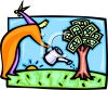 Man Nurturing and Watering a Money Tree clipart