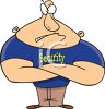 Cartoon of a Musclebound Security Guard Moonlighting as a Bouncer clipart