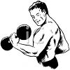 Vintage Weight Lifter Doing a Biceps Curl with a Dumbbell clipart