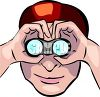 Man Watching with Binoculars clipart