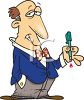 Cartoon of a Shifty Looking Businessman with a Leaky Pen clipart