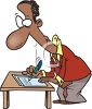 Cartoon of an African American Man Writing Up a Contract clipart