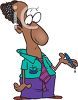 Cartoon of an African American Man Holding a Leaky Pen clipart