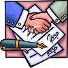 Two Men Shaking Hands Over a Signed Document clipart