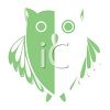 Owl Design in Green and White clipart