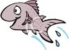 Happy cartoon fish leaping or jumping from the water clipart