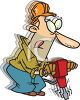 Cartoon of a Vibrating Guy Using a Jackhammer  clipart