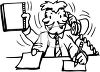 Cartoon of an Office Worker Multi-Tasking clipart