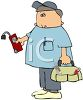 Cartoon of a Technician Carrying a Meter Reading Tool clipart