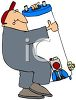 Cartoon of a Plumber Carrying a Water Heater  clipart