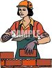 Female Mason Building a Brick Wall clipart