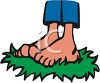 Cartoon of Bare Feet Standing in Grass clipart