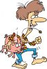 Hillbilly Woman Carrying a Pig clipart