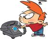 Cartoon of a Boy Wondering What a Rotary Phone Is clipart