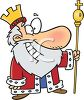 Cartoon of a Smiling King Holding His Gold Scepter clipart