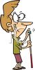 Cartoon of a Woman Chalking a Pool Cue clipart