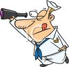 Cartoon of a Sailor Looking Through a Spyglass clipart