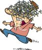 Cartoon of a Man Running and Screaming with a Swarm of Mosquitoes on His Face clipart