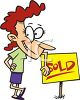 Cartoon of a Real Estate Agent Standing Next to a Sold Sign clipart
