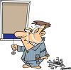 Cartoon of a Man With Insomnia Breaking His Alarm Clock with a Hammer clipart
