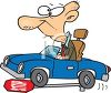 Cartoon of a Really Old Guy Running Over a Stop Sign in His Car clipart