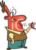 Cartoon of a Red Faced Sweating Man Eating Hot Chilies clipart