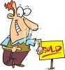 Real Estate Agent Standing by a Sold Sign clipart