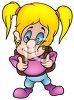 Cartoon of a Little Girl Going to School with Her Backpack On clipart