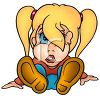 Little Girl Sitting on Her Bottom with Her Hair in Her Eyes Cartoon clipart