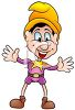 Cartoon of an Elf Wearing a Pointy Yellow Hat clipart