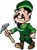 Cartoon of an Elf Holding a Pick for Making Toys clipart