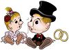Cartoon of a Cute Bride and Groom with Gold Rings clipart