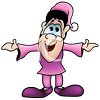 Cute Cartoon Elf Wearing Purple clipart