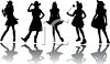Silhouettes of Cowgirls clipart