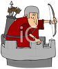 Archer Knight on a Castle Turret clipart