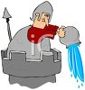 Knight Throwing Water Off a Castle Turret clipart