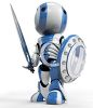 3D Robot Warrior with Sword and Shield clipart