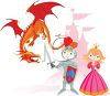 Cartoon of a Cute Maid and Knight with a Dragon clipart