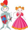 Knight in Shining Armor with a Maiden clipart