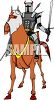 Medieval Knight in Common Armor Astride His Horse clipart
