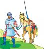 Knight Leading His Horse Up a Hill clipart