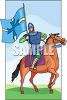 Knight Upon a Horse Carrying a Flag clipart