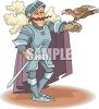 Cartoon of a Knight with a Falcon on His Arm clipart