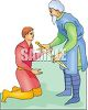 Young Man Being Given a Sword by a Knight clipart
