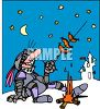 Cartoon of a Knight Cooking Sausages Outside the Castle clipart