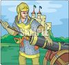 Knight Loading a Cannon clipart