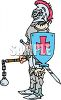 Medieval Knight Holding a Shield and Mace and Chain clipart