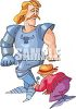 Cartoon Knight Being Dressed in Armor by His Valet clipart